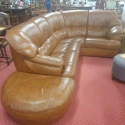 Canapé d'angle en cuir fauve