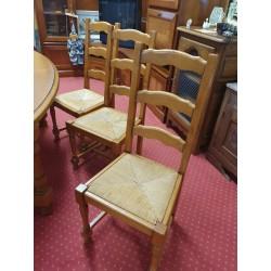 lot de 6 chaises paillées en orme massif